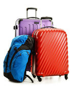 Suitcases and rucksacks isolated on white — Stock Photo