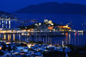 View of Bodrum harbor by night. Turkish Riviera — Stock Photo