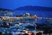 View of Bodrum harbor by night. Turkish Riviera — Foto de Stock
