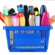 Plastic shopping basket with body care and beauty products — Stock Photo #48798193