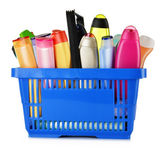 Plastic shopping basket with body care and beauty products — Stockfoto