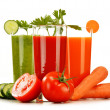 Glasses with fresh vegetable juices isolated on white — Stockfoto