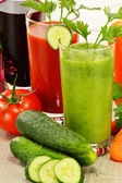 Glasses with fresh vegetable juices. Detox diet — Stockfoto
