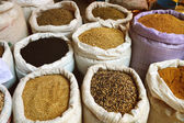 Grain food and spices in Arabic store — Stock Photo