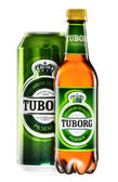 Bottle and can of Tuborg beer isolated on white — Stock Photo