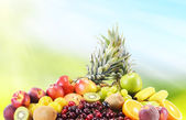 Composition with variety of fresh fruits. Balanced diet  — Stock Photo