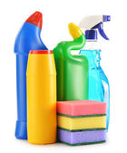 Detergent bottles isolated on white. Chemical cleaning supplies — Stock Photo