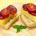 Spanish omelette with chorizo Iberico — Stock Photo #12645756