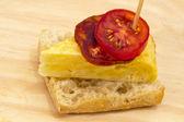 Spanish omelette with chorizo Iberico — Stock Photo