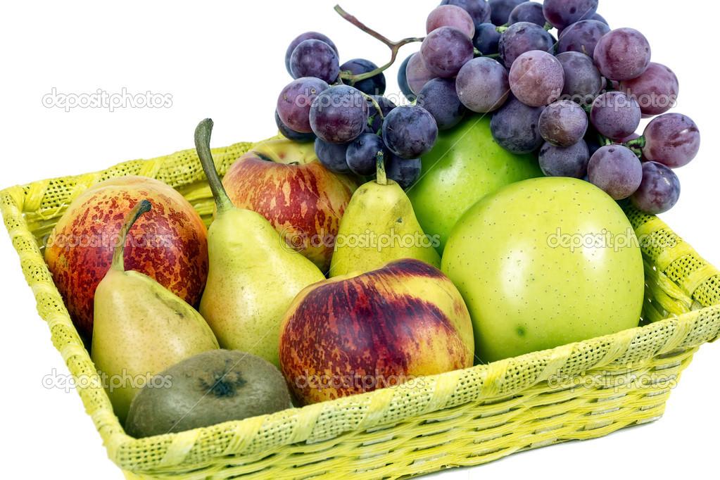 Äpfel, birnen und trauben appetitlich herbst obst