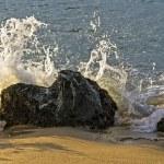 Постер, плакат: Wave breaking on a rock