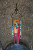 Ripoll monastery coat of arms emblem or — Stock Photo