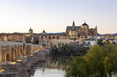 Gamla romerska bron och tornet calahora på natten, cordoba — Stockfoto