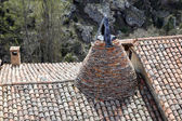 Conical chimney on a medieval tiled — Stock Photo