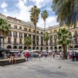 Plaza Real in Barcelona Spain, stamp and coin collection — Stock Photo