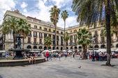 广场在巴塞罗那西班牙、 邮票和钱币收集真实 — 图库照片