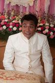 Asian thai bridegroom in thai wedding suit at wedding ceremony — Stock Photo