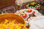 Glower garland in thai wedding ceremony — Stok fotoğraf