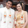 Asian thai wedding ceremony bride and bridegroom — Stock Photo