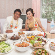 Asian thai wedding ceremony couple lunch time — Stock Photo