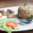 Spicy fried rice with fried fish with salted egg — Stock Photo
