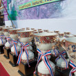 YALA, THAILAND - APRIL 1: Trophy cups for mountain bike winners - Stock Photo
