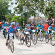 Постер, плакат: YALA THAILAND APRIL 1: Unidentified boys ride mountain bike f