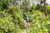 YALA, THAILAND - APRIL 1: Unidentified boy rides mountain bike f — Stockfoto