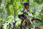 YALA, THAILAND - APRIL 1: Unidentified boy rides mountain bike f — Stock Photo