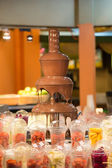 Chocolate fountain — Stock Photo