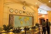 World time and map at Resort World Genting — Stock Photo