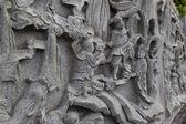 Wall Art and statue of Buddha Story — Stock Photo