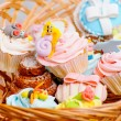 Stock Photo: Cupcakes in basket