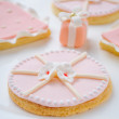 Stock Photo: Many pink cookies on white plate