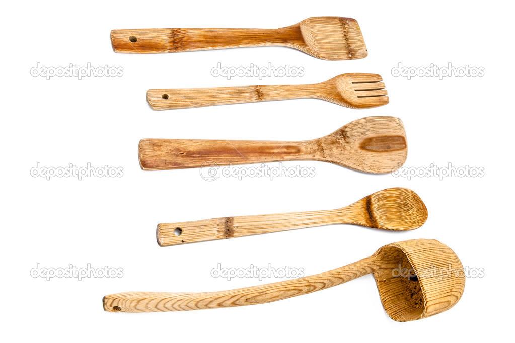 Composition Of 4 Kitchen Utensils : composition of wooden kitchen utensilson a white background —Photo ...
