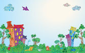 Background fantasy house trees — Stock Vector
