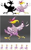 Bird superman hero violet vector — Stock Vector