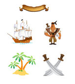 Pirate of palm island ship blade of retinues — Stock Vector