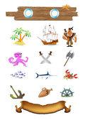 Pirate sea symbol vector — Stock Vector