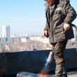 Roofer workman at work — Foto Stock