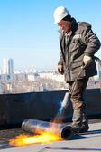 Roofer workman at work — Stock Photo