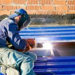 Industrial worker during welding works — Stock Photo