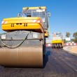 Road rollers during asphalt paving works — Stock Photo