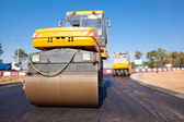 Road rollers during asphalt paving works — 图库照片