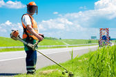Road landscaper cutting grass using string lawn trimmer — Stock Photo