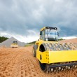 Road works with soil compactor — Stock Photo