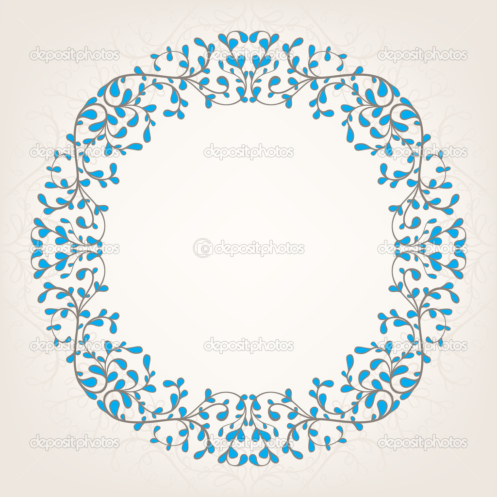 Beautiful abstract ornate beige and blue frame — Stock Vector #14566977