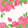 Card with pink roses — Stockvectorbeeld