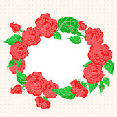 Frame with red roses — Stock Vector