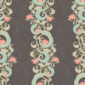 Vertical floral dark pattern — Stock Vector